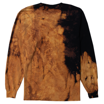 "Back of long Sleeve Men's Tee with ""SURREALIST"" printed on the chest of black shirt that has been bleached for effect."