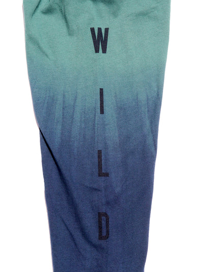 Close up detail image of the graphic text on the left sleeve with the word WILD