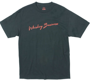 Whiskey Business screen printed on front chest of black graphic tee