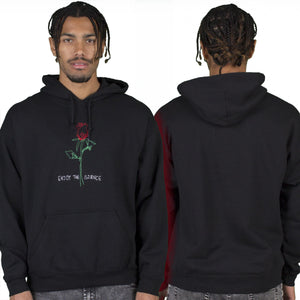 Enjoy the Silence Rose Mens Black Embroidered Pullover Hoodie