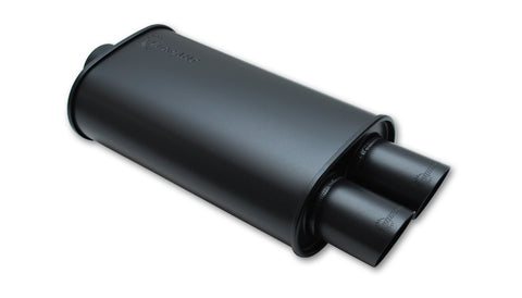 "Vibrant FLAT BLACK Oval Muffler with Dual Tips; Inlet ID: 2.50""(63.5mm) Tip OD:3.00""(76.2mm) Center to Center: 3.25"" (82.6mm)"