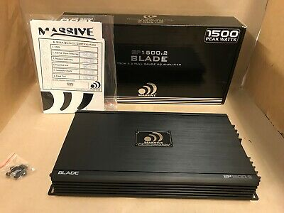 Massive Audio BP1500.2 1500 Watts BP Blade Series 2 Channel Amplifier Full Range