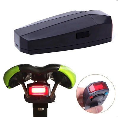 Bike security alarm doubles as a tail light