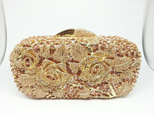 Bridal Metal Clutch Floral Rose  Crystal Gold  Wedding Party Handbags - Fitness Adicts
