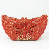 Orange Crystal Butterfly Rhinestones Evening Clutches Wedding Party Handbag - Fitness Adicts