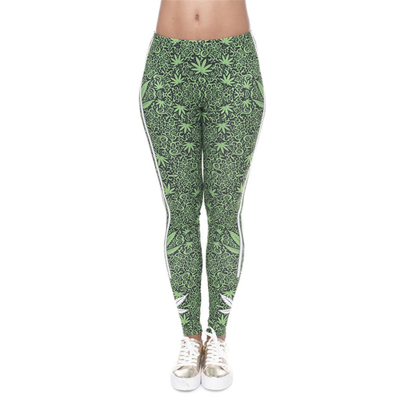 Girl Causal Green Leaf Stripes Jeggings Sexy Leggins Slim - Fitness Adicts
