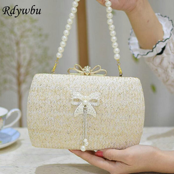 Straw Pearl Bowknot Straw Woven Evening Clutches Rhinestones Beaded Chain Handbag