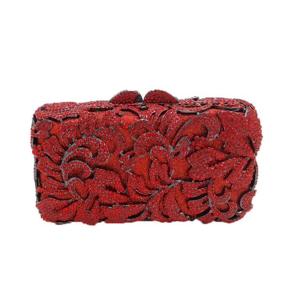 Dazzling Red Rhinestones Hollow Out Crystal  Flower Metal Clutches Bridal Wedding party - Fitness Adicts