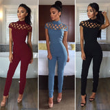 High Neck Bodysuit Short Sleeve Hollow Out High Neck Romper Jumpsuit - Fitness Adicts