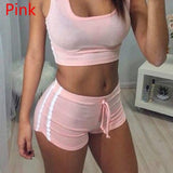 Women Round Collar Yoga Sets Top & Shorts Breathable Sleeveless Sports Bras and Stretch Shorts Running Fitness Gym Sportswear - Fitness Adicts