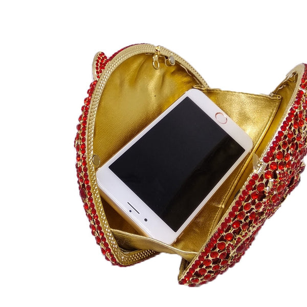 Elegant Red  Flower Clutch Crystal Hollow Hard Case Wedding Clutches - Fitness Adicts