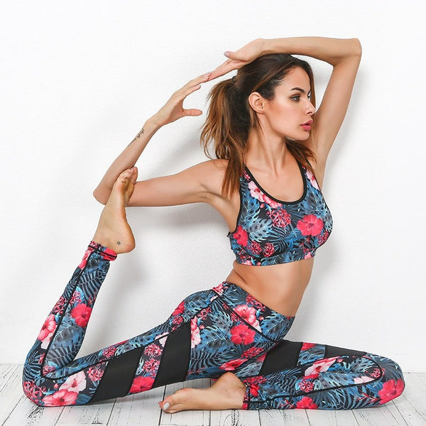 2Pcs Flowers Print Yoga Sets Fitness Bra+Pants - Fitness Adicts
