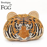 Tiger Face Rhinestone Women Handbags Metal Clutches - Fitness Adicts