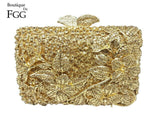 Fuchsia Floral Rhinestones Hollow Out  Evening Party Clutch Bridal  Wedding Crystal  Handbags - Fitness Adicts