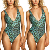 Printed Sexy Deep-V Monokini Bathing Suit - Fitness Adicts
