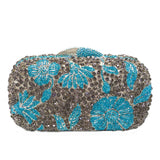 Blue Diamond Rhinestone Floral Wedding Party Bridal Handbags - Fitness Adicts