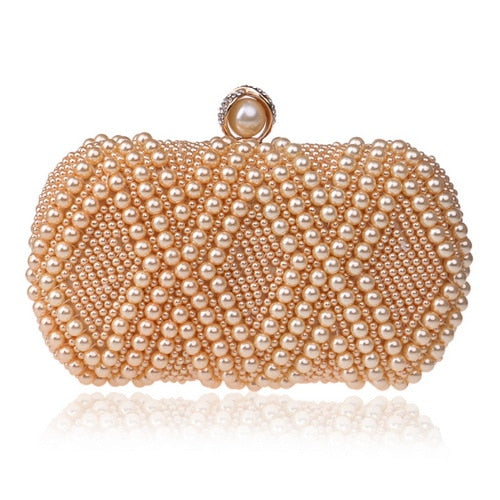 Fashion Handbags/Evening Bag Egg Beaded  Rhinestones Pearl Day Clutch Shoulder Chain bag - Fitness Adicts