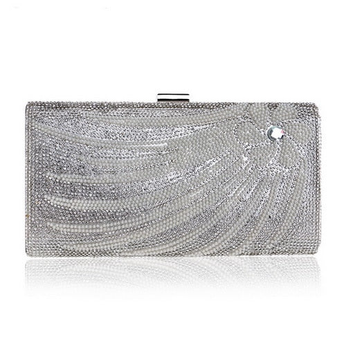 Gold Rhinestones evening Bag  Chain Shoulder Flower Beaded Party Wedding Clutch - Fitness Adicts