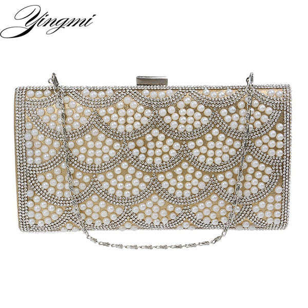 Rhinestones  Evening Bags Pearl Imitation Chain Shoulder Clutches - Fitness Adicts