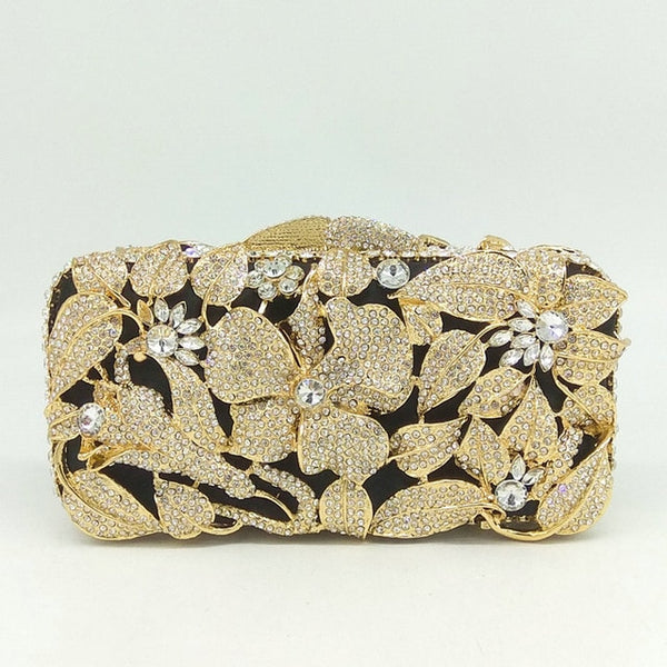 Gold Plated Silver Crystal Evening Bag Hollow Out Flower Rhinestone Handbag - Fitness Adicts