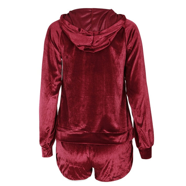 Women Two Piece Set Velvet Tracksuit Set Long Sleeve Hoodie Sweat Suits Drawstring Sweatshirt Shorts Sportswear Lady - Fitness Adicts