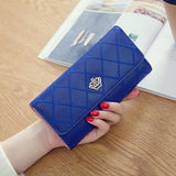 fashion high capacity women wallets metal crown  PU leather flip up card holder - Fitness Adicts