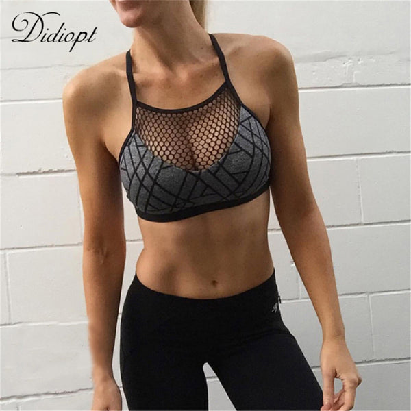 Didiopt 2018 New Sports Bra Yoga Bra Womens Running Vest Mesh Corsets Gym Mesh Sports Vest Womens Shorts Top Bodybuilding T0959 - Fitness Adicts