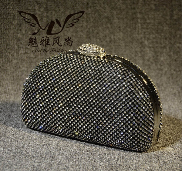 Diamond Evening bag High Grade Full Rhinestone  gold Clutch  black silver&gold - Fitness Adicts