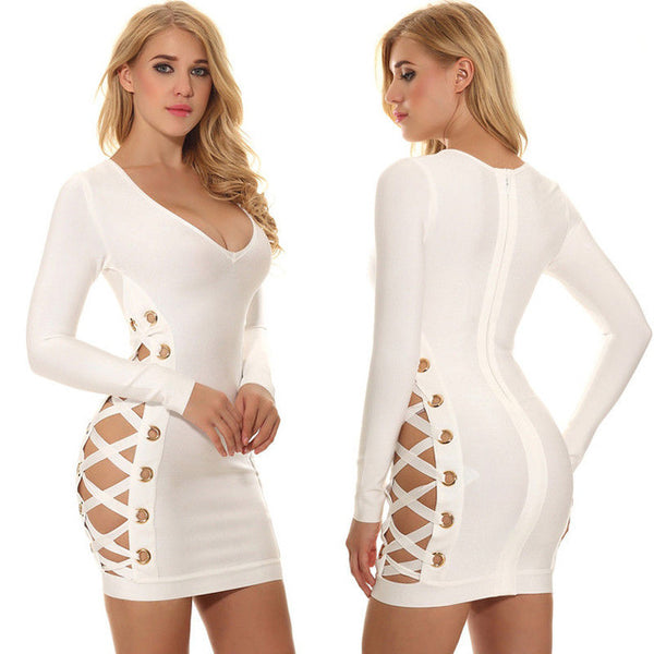 Sexy Summer Cross Bandage Lace Up Zipper V-neck Short Mini Dress - Fitness Adicts