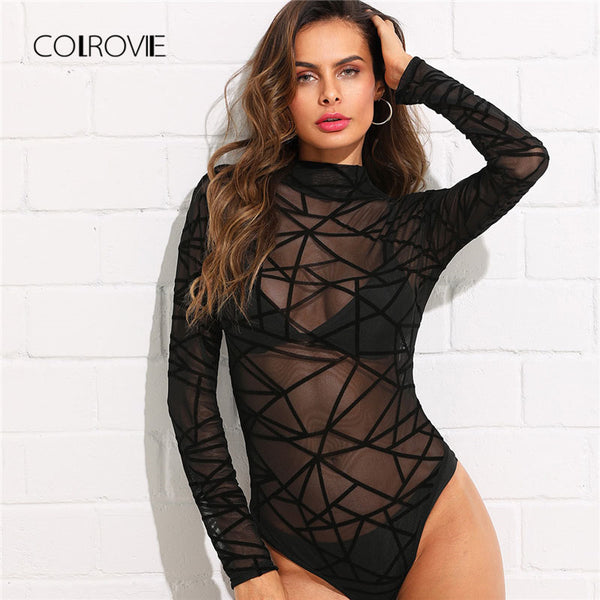 See-Through Mesh Bodysuit  Long Sleeve Lace Skinny Plain Sexy Sheer Bodysuit - Fitness Adicts