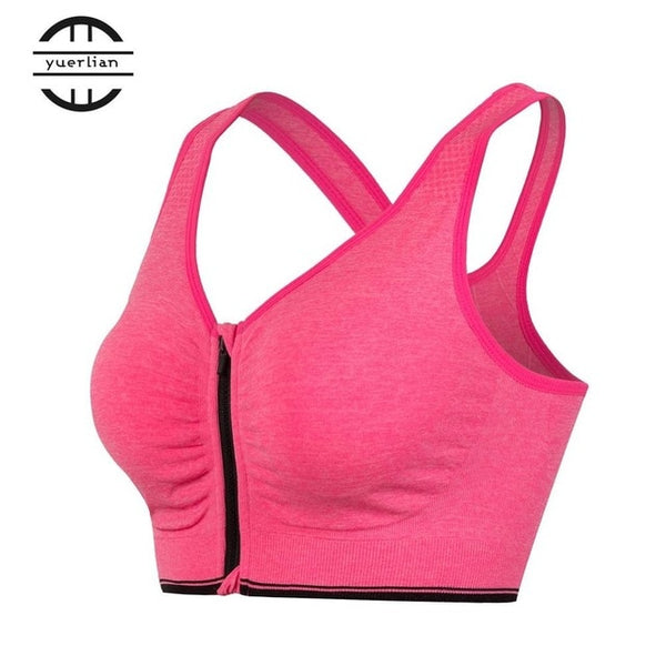 Sports Bra Fitness Yoga Tennis Running Wirefree Zipper Sports Bra Cool Seamless Bra - Fitness Adicts
