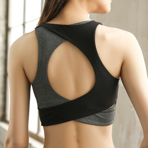 Sexy Open Back Sports Bra High Impact Shockproof Fitness Yoga Bra - Fitness Adicts