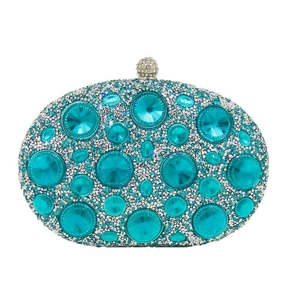 Giant Light Blue Rhinestones  Metal Minaudiere Crystal  Handbag - Fitness Adicts