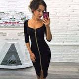 Slim Pencil Dress Front Zip Cocktail  Elegant Stretch - Fitness Adicts