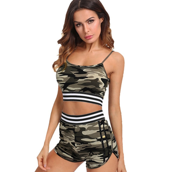 Sexy Green Camouflage Women Fitness Suit Workout Shorts Sportswear Yuga Set Costume 2 Piece Workout Yuga Top Push Up Tracksuit - Fitness Adicts