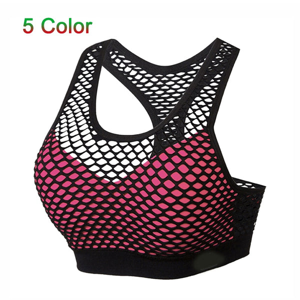 Breathable Mesh Sport Bra Top Women Hollow Out Cross Shockproof - Fitness Adicts