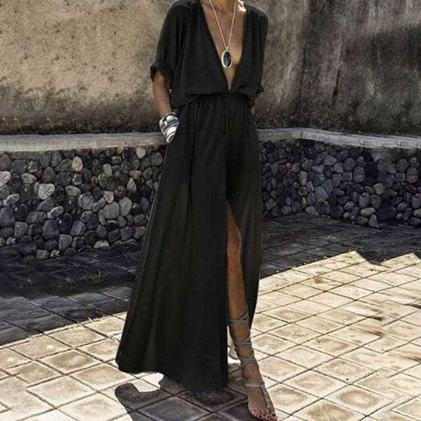 Maxi Beach V Neck Tunic High Waist Split Sexy Long Dresses - Fitness Adicts