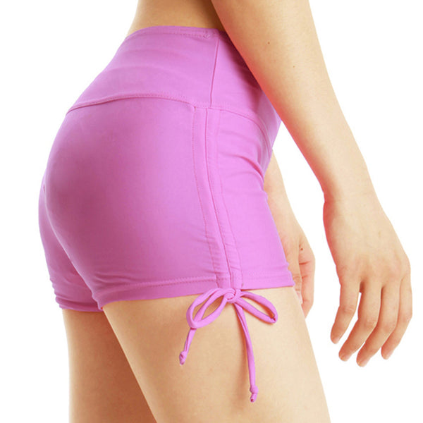 Elastic Waist Solid Fitness Women Sport Yoga Running Gym Training Safety Quick Dry Sides Drawstring Skinny Boxer Shorts - Fitness Adicts