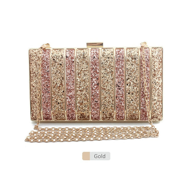 Luxy Moon Panelled Sequin  Rhinestones High Quality Clutch - Fitness Adicts