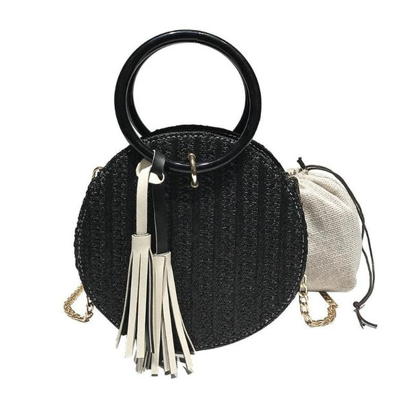 Circle Straw  Woven Rattan Tassel Handbags Purse Vacation Tote - Fitness Adicts