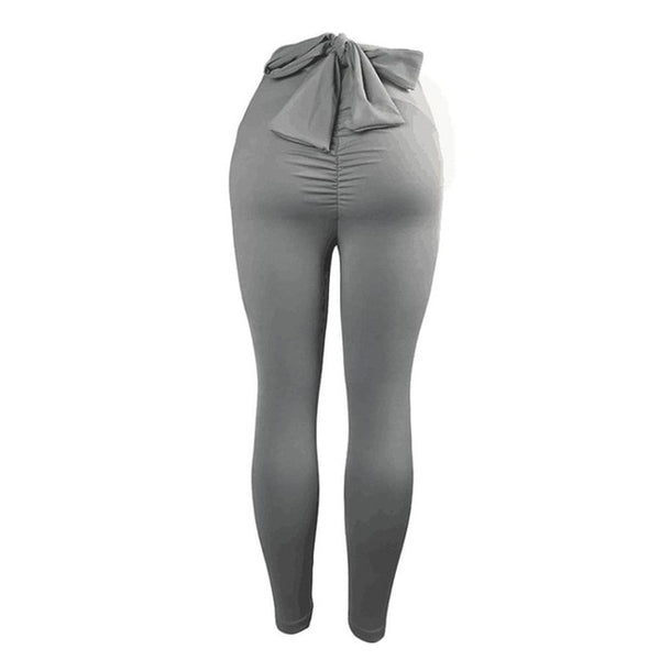 Women Sports Pants High Waist Fashion Yoga Fitness Leggings with Bowknot Gym Wear Stretch Trousers Lift Hips Running Pants - Fitness Adicts