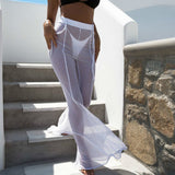 white sexy transparent beachwear wide leg pants - Fitness Adicts