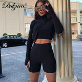 Dulzura 2018 autumn winter women sexy long sleeve neck zipper crop top high waist stretch shorts workout fitness 2 pieces set - Fitness Adicts