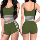 Women 2Pc Suit Workout Vest Shorts Set - Fitness Adicts