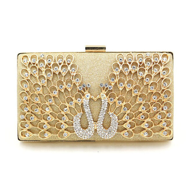 Luxury Evening Bags For Wedding Elegant Peacock Rhinestone Pattern Clutch - Fitness Adicts
