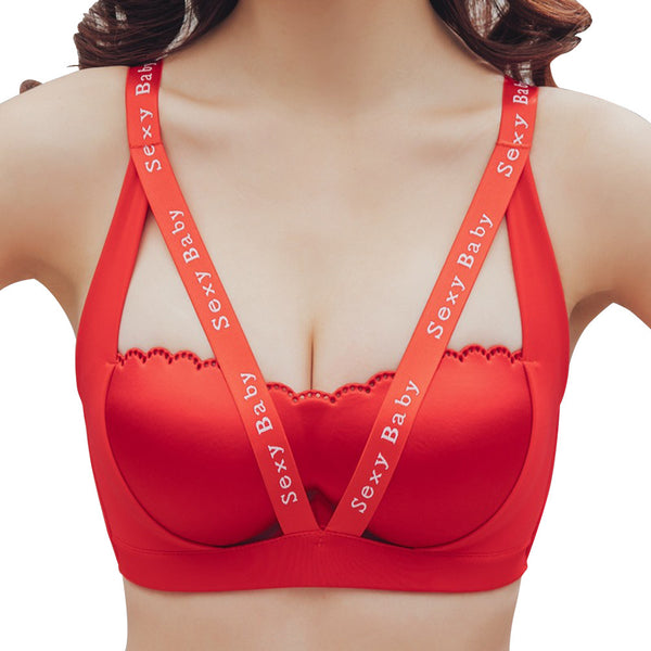 Women Sports Bra Seamless Sexy Comfort Push Up Padded Bra  (Red) - Fitness Adicts