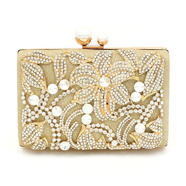 Elegant Flower Rhinestone Pearl  Clutch  Metal Chain Shoulder Bags - Fitness Adicts