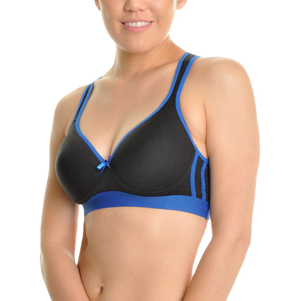 Wired Cotton Sports Bra with Mesh Racerback (3-Pack) - Fitness Adicts