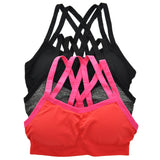 Wire-Free Seamless Sports Bra with Cross-Back (3-Pack) - Fitness Adicts