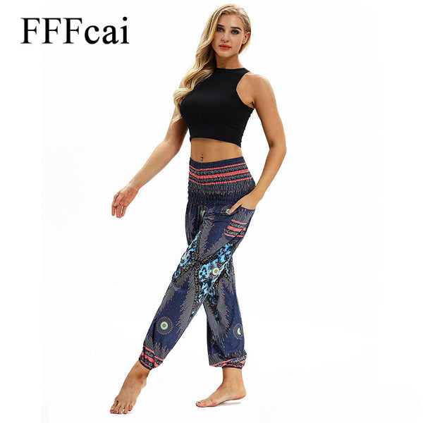 FFFcai Vintage Women Yoga Leggings Lounge Pant Bloomers Thai Style Wide Leg Loose Pants Women Beach Wear Fitness 3D Funny Design - Fitness Adicts